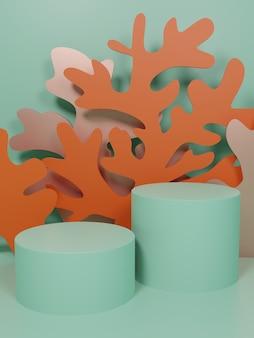 スキンケア健康および医療製品の3dレンダリング水中テーマペーパーカットコーラルおよび海藻製品ディスプレイの背景ピンクミントおよびオレンジ色