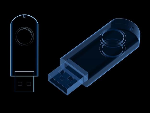 블랙에 고립 된 3d 렌더링 usb 플래시 드라이브 스캔