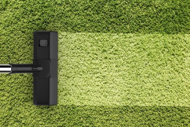3d-рендеринг пылесос с пустой полосой на зеленом ковре