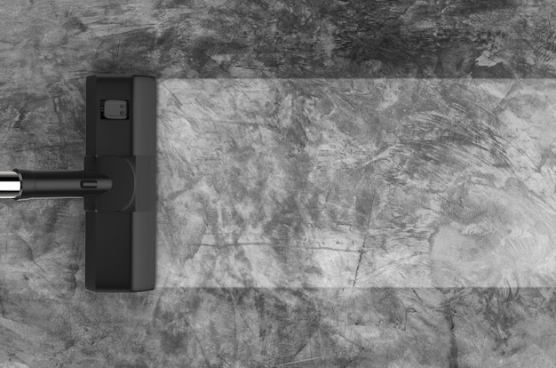 3d рендеринг пылесос с пустой полосой на сером фоне