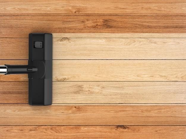 3d рендеринг пылесос с пустой полосой на деревянном фоне