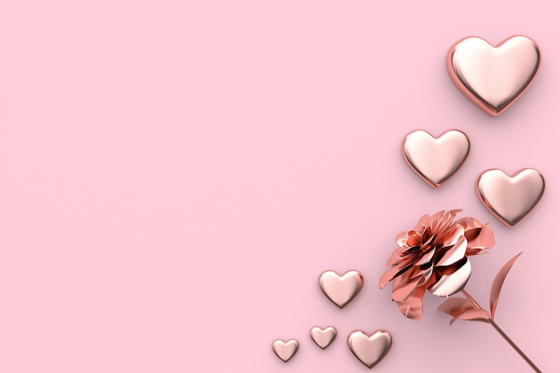 3d rendering valentine concept heart and flower pink background
