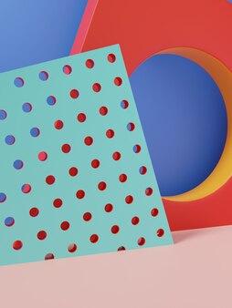 3d 렌더링 생생한 색상 아름다움을 위한 최소한의 기하학적 또는 추상 제품 디스플레이 배경