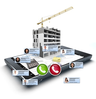 3d rendering of a  video conference on a smartphone on a construction and architecture context