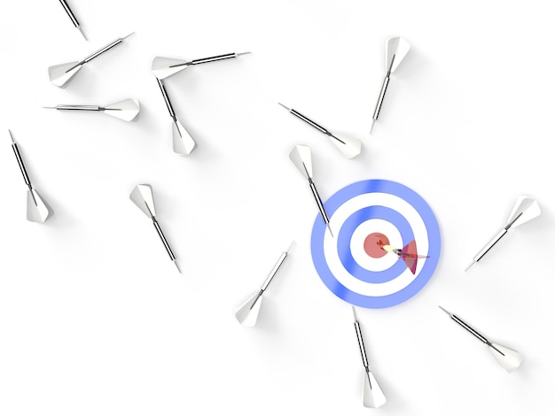3d rendering, view from top golden red only one dart hitting the center of a red white blue target, many white grey darts on the floor.strategic business or motivation concept.