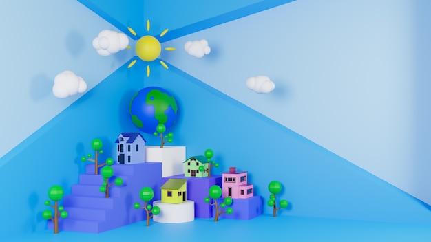 Деревня рендеринга 3d на выращенном кубе и дереве lowpoly. концепция среды обитания мира.