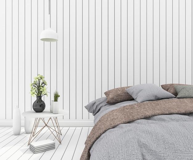 3d rendering vintage bed in clean white wood bedroom
