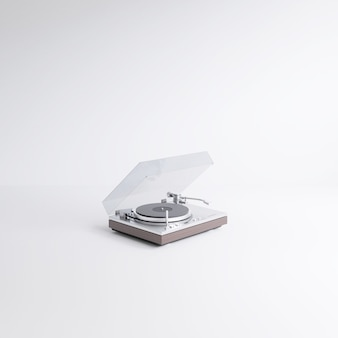 3d rendering vintage minimal style record player with radio tuner