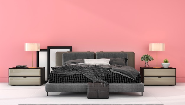 3d rendering vintage pink minimal mock up bedroom in style