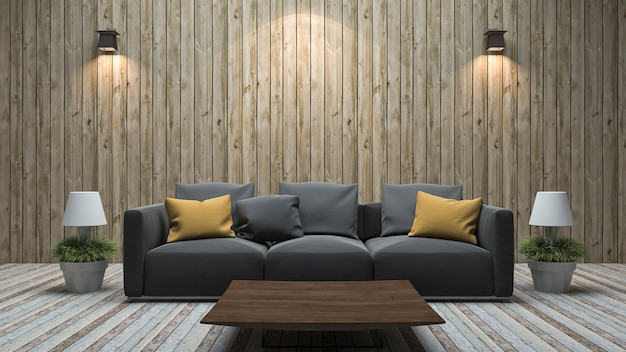 3d rendering vintage wood wall living room with colorful sofa