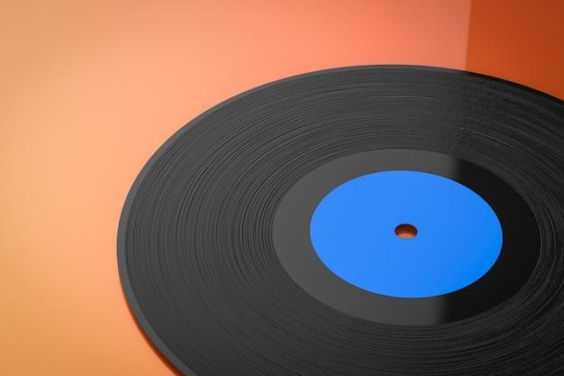 오렌지 배경에 3d 렌더링 비닐 레코드