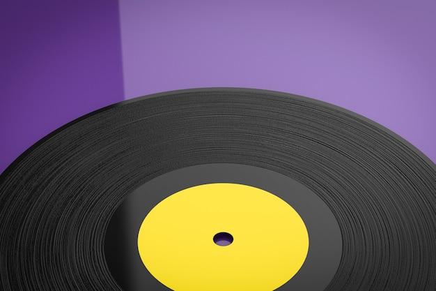 보라색 배경에 3d 렌더링 비닐 레코드