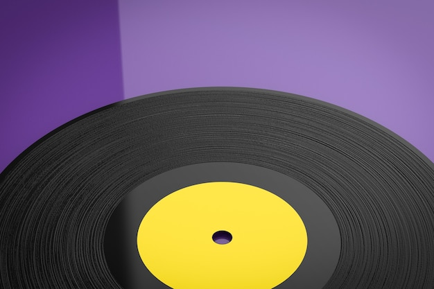 3d rendering vinyl record on violet background
