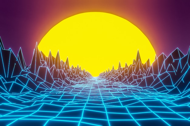 3d rendering, virtual reality, road from geometric lines between the mountains to the setting sun.design in the style of the 80s.  futuristic synthesizer retro wave illustration