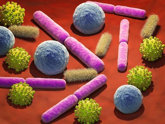 3d визуализация вирусных и бактериальных клеток в вене