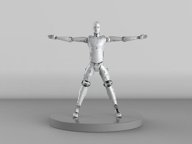 3d rendering vitruvian robot or cyborg on grey background