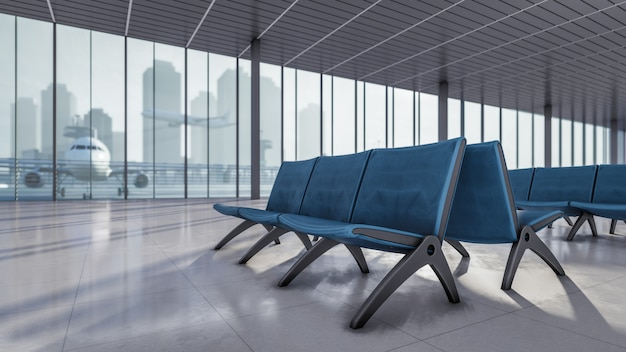 3d rendering waiting area at airport terminal illustration