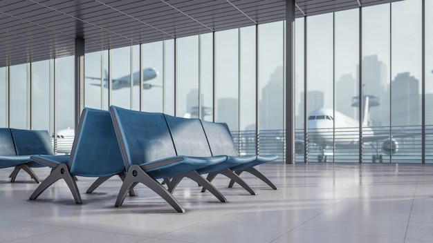 Зона ожидания 3d рендеринга в аэропорту иллюстрация терминала