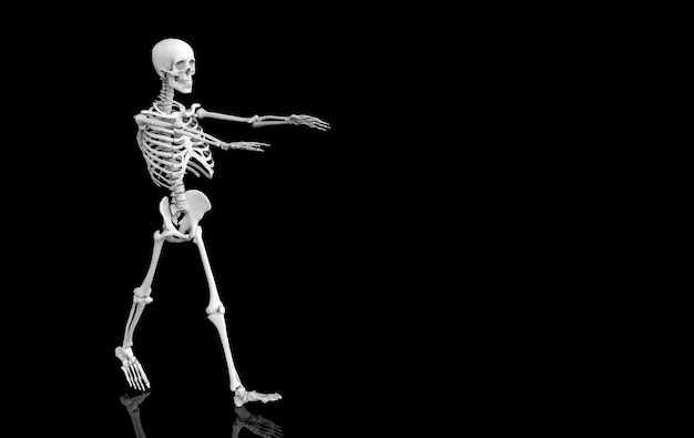 3d rendering. walking ghost  human skull skeleton bones on black . horror halloween .
