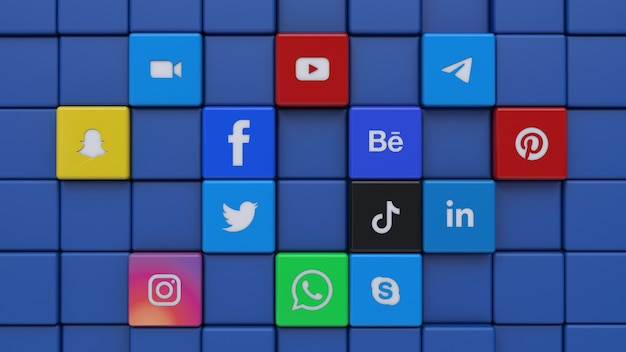 3d rendering of a wall made with most popular social network cube logos