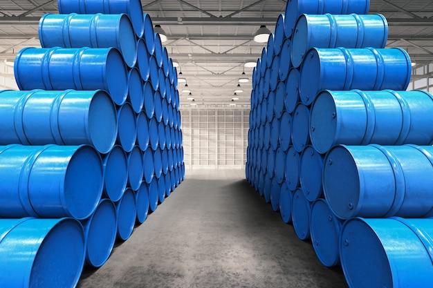 青い樽の山と3dレンダリング倉庫通路