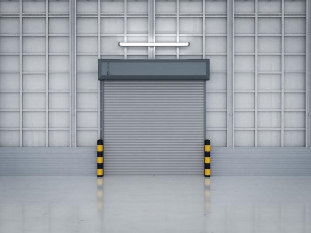 3d рендеринг интерьера склада с закрытыми ставнями