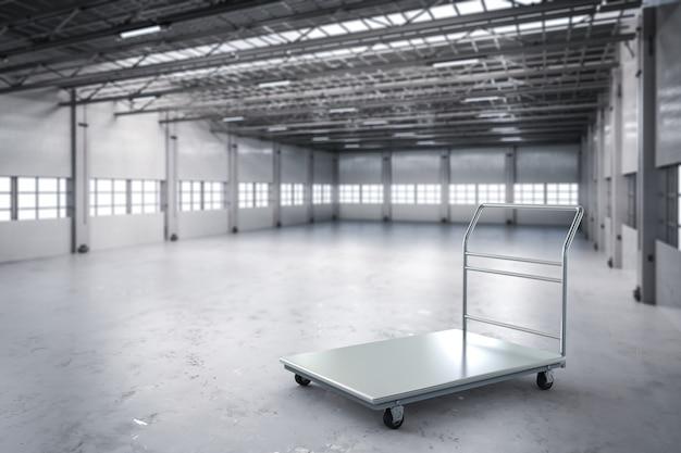 공장에서 3d 렌더링 창고 트롤리 또는 플랫폼 트롤리