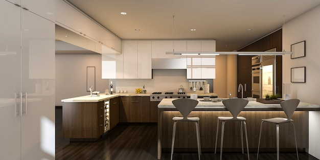 3d rendering warm light beautiful kitchen