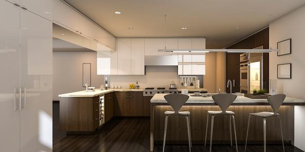3 dレンダリング暖かい光の美しいキッチン