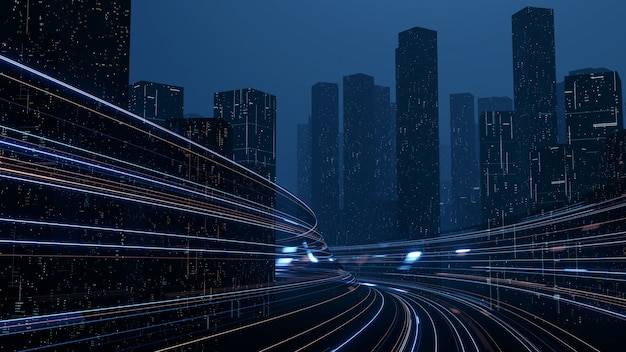 3d rendering of warp speed in hyper loop with blur light from buildings' lights in mega city at night.