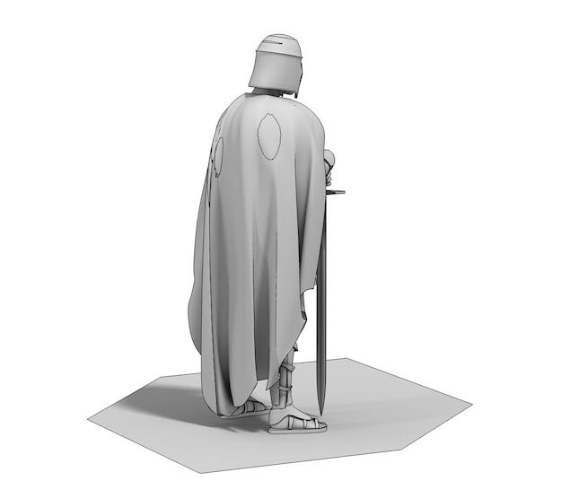 3d 렌더링 전사 캐릭터 그림