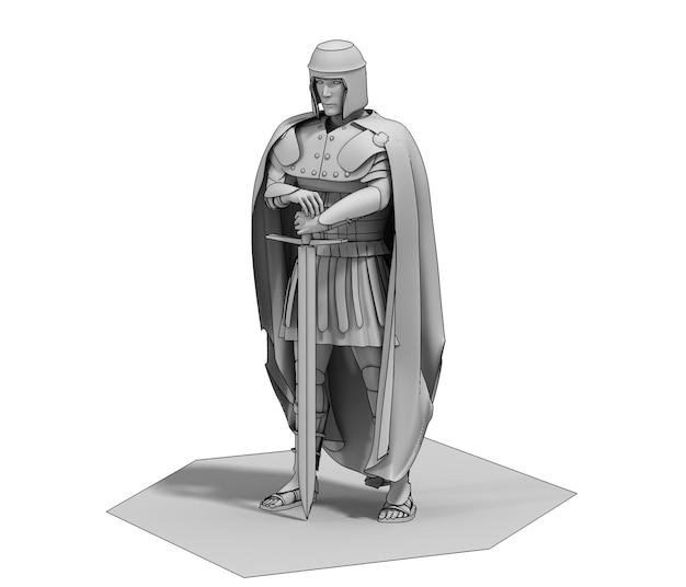 3d rendering warrior character illustration