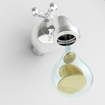 金貨が落ちる3dレンダリング水道水
