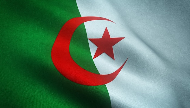 3d rendering of a waving flag of algeria with grungy textures