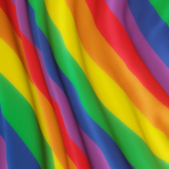 3d 렌더링. 물결 모양의 무지개 깃발. lgbtq 색상.