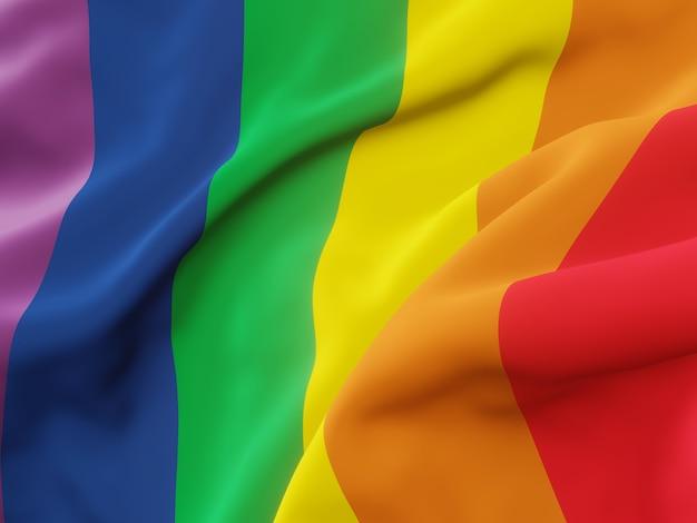 3d rendering. wavy rainbow flag. lgbtq color.
