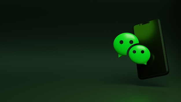 3d rendering of wechat logo with mobile phone and space for text