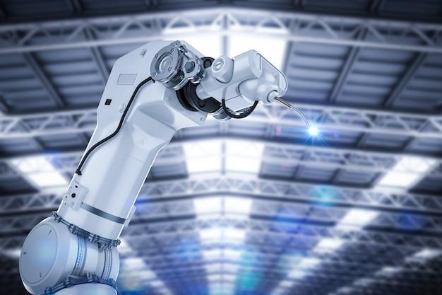 工場でフレア付きの3dレンダリング溶接ロボットアーム