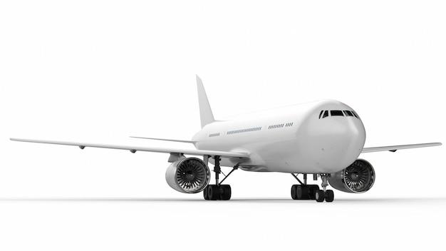 3d рендеринг белый самолет на белом фоне