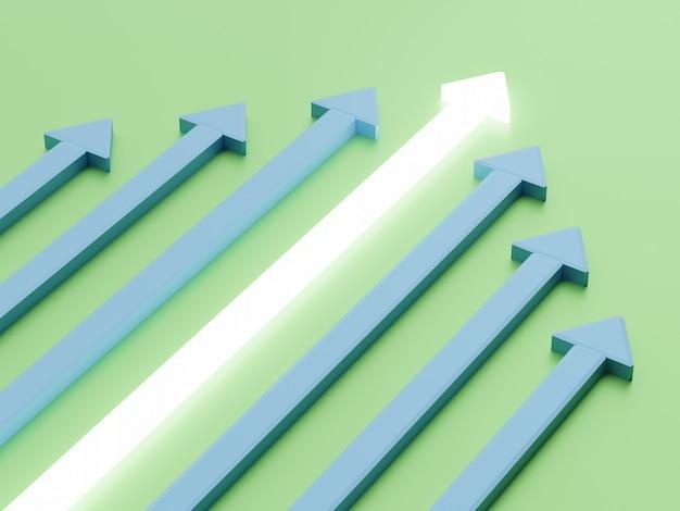 녹색 배경에 3d 렌더링 흰색과 파란색 화살표