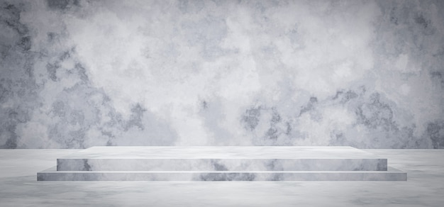 3d 렌더링. 흰색과 회색 시멘트 무대 배경