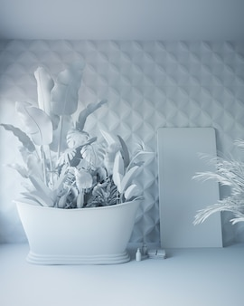 3d rendering of white bathroom with tropical flowers