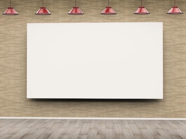 ペンダントランプがぶら下がっている3dレンダリングの白い空白のフレーム