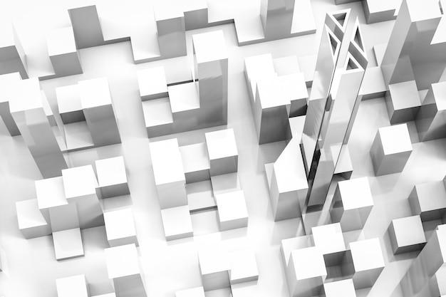 3dレンダリングの白い建物の上面図