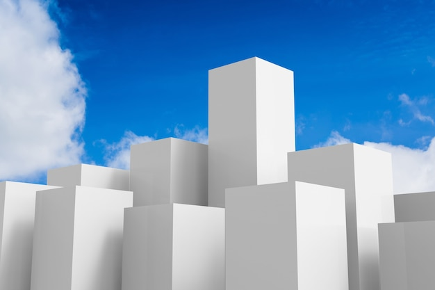 푸른 하늘 배경에 3d 렌더링 흰색 건물