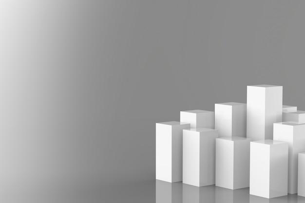 회색 배경에 3d 렌더링 흰색 건물