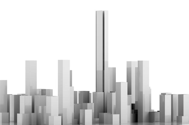 白い背景に白い建物を3dレンダリング