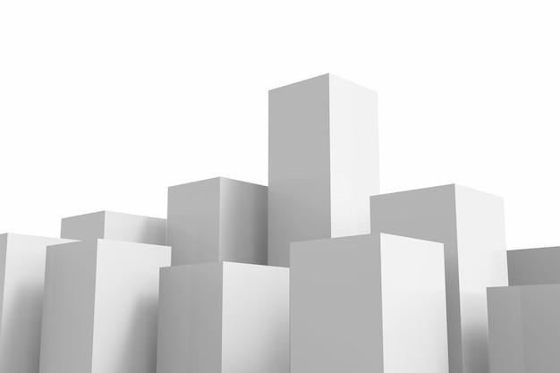 흰색 배경에 3d 렌더링 흰색 건물