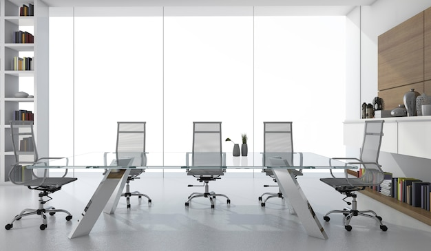 3d rendering white business meeting room with light from window