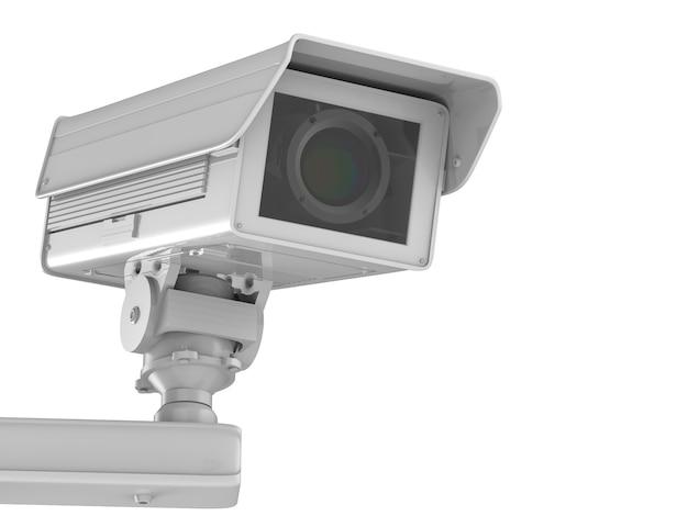 3d-рендеринг белой камеры видеонаблюдения или камеры безопасности, изолированной на белом